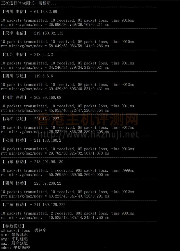 mping脚本测试腾讯云轻量香港服务器延迟