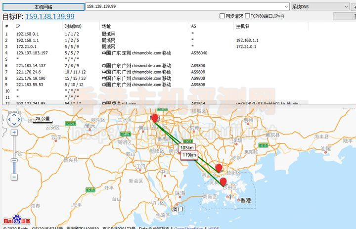 华为云香港机房弹性云服务器ECS路由跟踪测试结果
