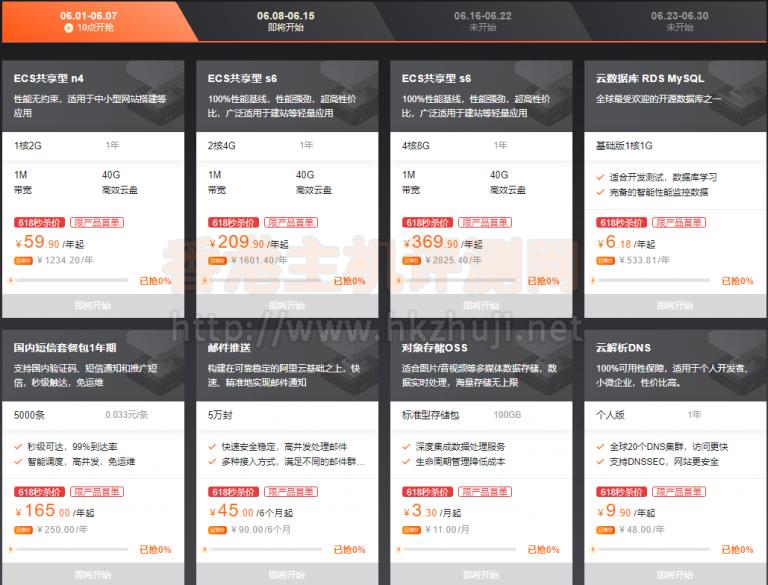 阿里云香港云主机限量秒杀1核2G 59.9元