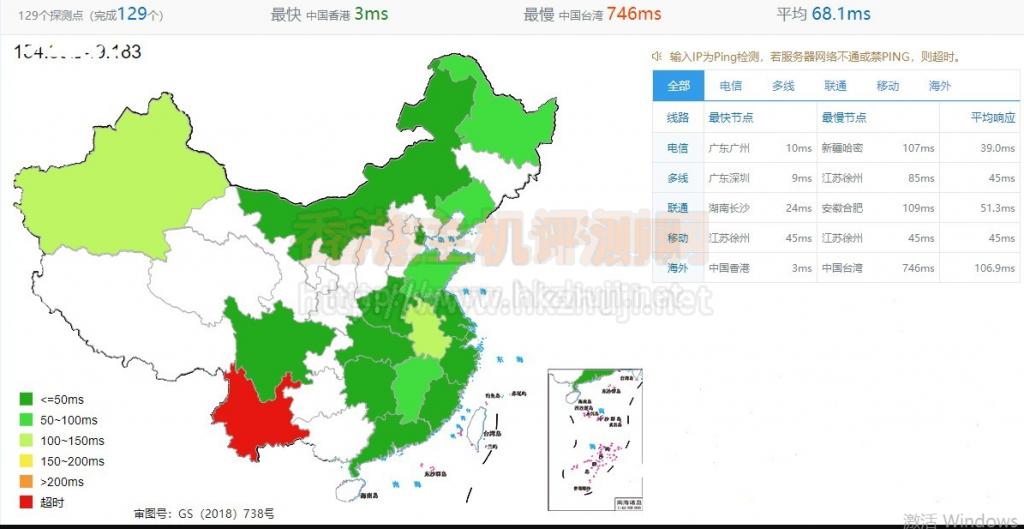 Megalayer香港显卡服务器的全网PING值延迟测试