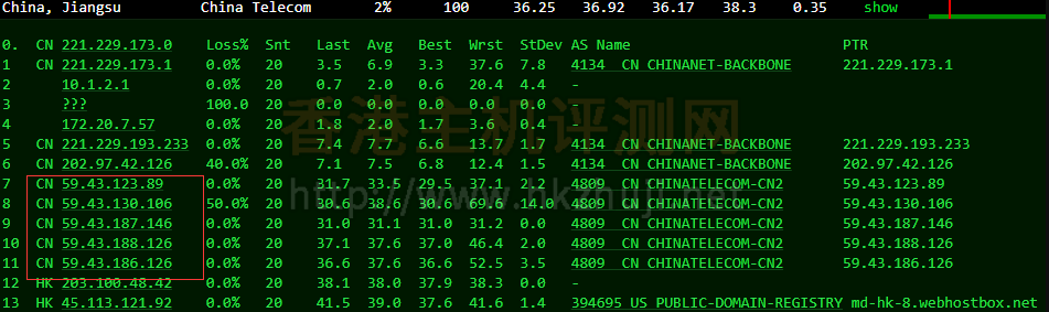 BlueHost香港主机电信去程路由跟踪测试