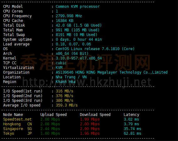 Megalayer香港VPSCPU和I/O读写测试